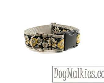 "Midnight in the Garden Dog Collar - 1.5"" (38mm) Wide - Quick Release or Wide Martingale Dog Collar - Choice of collar style and size"