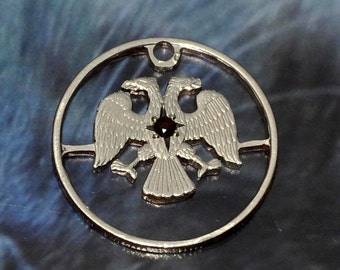 Gemmed coin cut charm 5 russian roubles. Double eagle displayed.