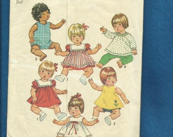 Vintage 1973 Simplicity 5947 Baby Doll Clothes Pattern for 15 to 17  inch Dolls Medium