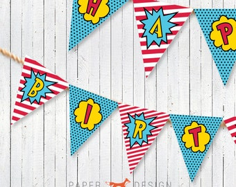 Superhero Birthday Banner Printable