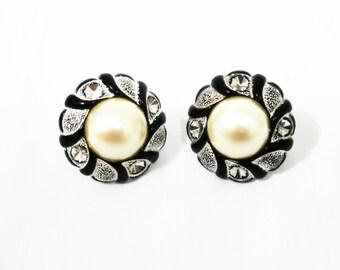 SALE 30% OFF Vintage Faux Pearl  Rhinestone Button Earrings, Post Earrings, Button Stud Earrings, Vintage Button, Vintage  Button Earrings
