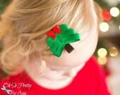 Christmas Tree Hair Clip - Christmas Hair Bow - Christmas Ribbon Sculpture - Green Hair Bow - Red Hair Clip