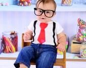 Valentines Day Tie Bodysuit,Valentines Day,Boys Valentines Day,Valentines Day tie and suspender set, Boys Valentines Day Clothing, Baby