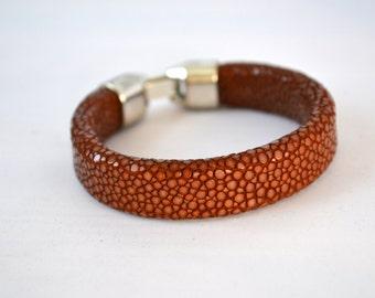Genuine polished stingray shagreen skin brown bracelet - Handmade