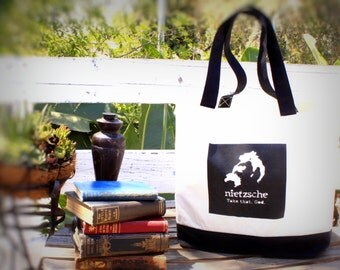 Tote Bag Philosophy Geekery Book Bag Canvas Tote Eco Friendly Reusable Two Tone