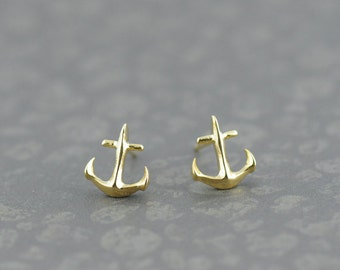 Tiny Anchor Earrings in Gold. Anchor My Love. Gold Anchor Post Earrings. Whimsy Earrings. Cute Earrings.