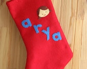 Personalized Christmas Stocking, Baby's First Christmas, Personalized Name, Custom Felt Applique Design, Hipster Baby Xmas Stocking