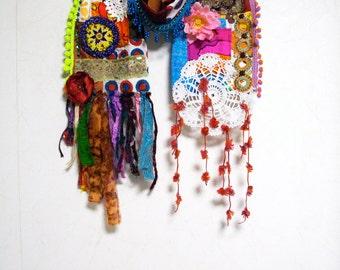 SALE 30% off Patchwork Bohemian Gypsy Ethnic Silk Cotton Multi Color Scarf