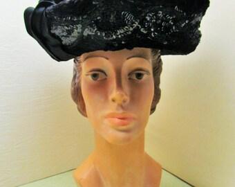 Antique black silk hat with sequins and chenille trim, c.1918 black silk toque