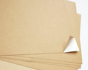 Set of 5 Sheets of A4 Kraft Paper Stickers/Self Adhesive for Laser, Inkjet Printer - Multipurpose, DIY