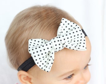 Baby Polka Dot Bow Headband, White Baby Headband, Hipster Baby Headband, Trendy Baby Headband, Blush By Taylor, Modern Baby Accessories