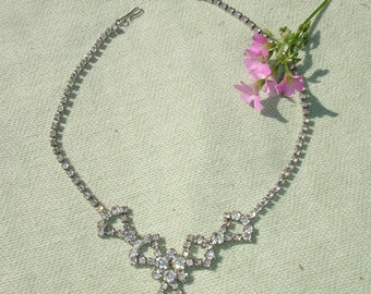 1950's Bright Rhinestone Necklace - FREE Shipping