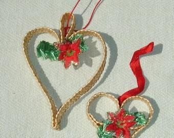 Handmade Vintage Weaved Ornaments - Christmas Tree - Yule Tree - Christmas in July Sale