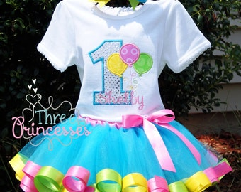 Birthday Balloons Ribbon Tutu Set Includes Tutu Shirt and Bow Great for First Birthday