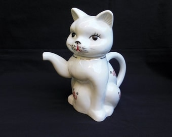 White Cat Teapot Trimmed with Gold and Red Flowers Kitten Pitcher Made in Taiwan