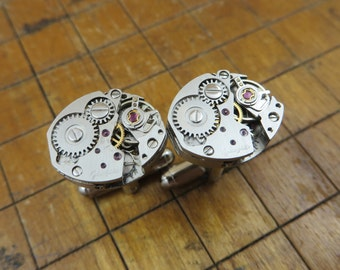 Glaschutte Watch Movement Cufflinks. Great for Fathers Day, Anniversary, Wedding or Just Because