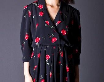 SALE 50% OFF 90s Vintage Floral Print Mini Dress in Black