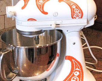Kitchen Aid Vinyl Decals, Paisley Mixer Decals, Choose your Color, Appliance Decals, Stand Mixer Decal, Gift for Baker