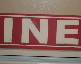 Retro Diner sign/red sign/hand painted sign/kitchen art/retro style sign/red and white/farmhouse style