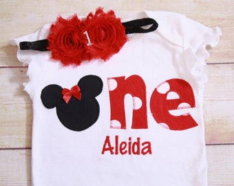 Minnie Mouse 1st Birthday Shirt / Minnie Mouse 1st Birthday Outfit / Girls ONE Birthday Outfit /Girl Minnie Birthday /Minnie Girls Clothing