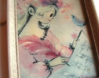 Music Girl Framed Art 6x8