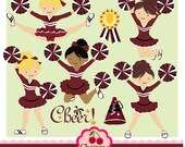 Maroon, Black and White Cheerleader Digital Clipart Set for -Personal and Commercial Use-paper crafts,card making,scrapbooking,web design