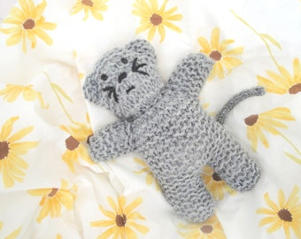 "Kitty Doll, Gray Knit Kitty Cat, 8"" Tall, Plush Softie, Birthday Gift, Stuffed Toy Cat"