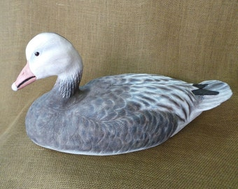 Snow Goose in the Blue Phase - Hand Carved Snow Goose ~Birthday, Wedding, Christmas Gift