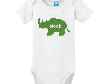 Rhino Shirt, Rhino Baby One Piece, Rhinoceros Silhouette, Zoo Animal, Personalized One Piece, Bodysuit with Name, One Piece with Name