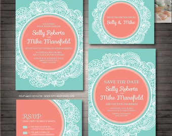 Coral and Mint Green Wedding Printables, Customized Wedding Invitation, RSVP, Thank you card, Save the date