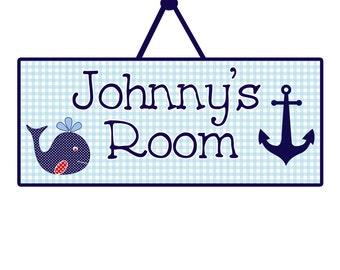 whale nursery sign nautical nursery whale nursery anchor decor baby boy nursery wooden anchor sign child's door sign whale door hanger