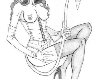 """Limited """"Burlesque Devil"""" print by Punk Guy Comics"""