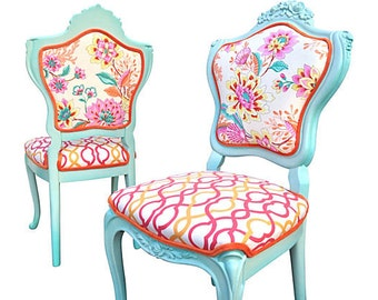 Upholstered French Hollywood Regency Side Chairs Floral Geometric Pink Yellow Orange Aqua Blue Fabric Colorful Fun Eclectic Chic