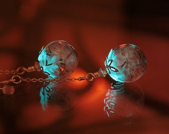 EARRINGS Dandelion Seeds in Glass Bubble that GLOWS in the DARK