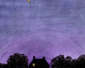 New Purple Sky, yellow moon and home, scenic landscape print, 8.5x11 night sky  decor Home & Living America color, digital print, gift idea