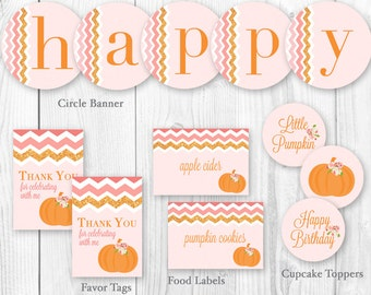 Little Pumpkin Party Package - Pumpkins and Roses Birthday Party Package. DIY Printable Birthday Party Package.