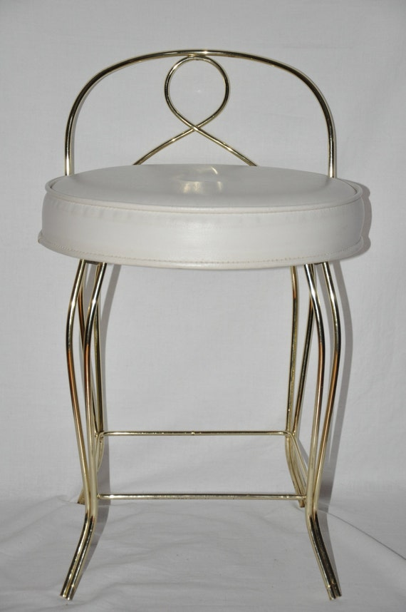 Vintage Stool Vanity George Koch Gold Metal White Vinyl Powder