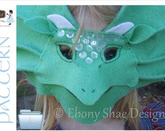 Kids Dragon Mask/ Frill Neck Lizard Mask PATTERN.  Dragon Costume Pattern