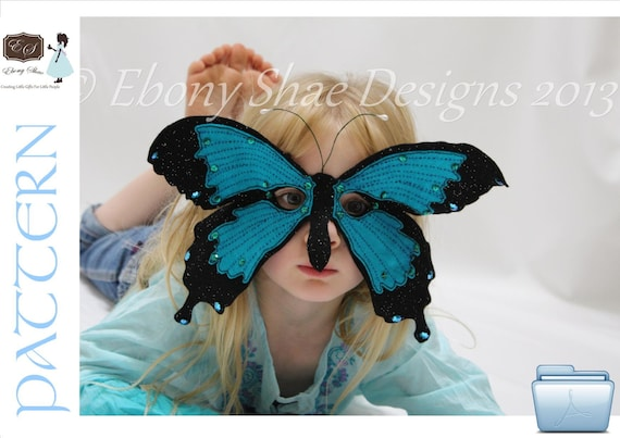 Felt Butterfly Mask PATTERN.  Instant Download sewing pattern PDF for butterfly costume kids mask.