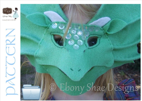 Kids Dragon Mask/ Frill Neck Lizard Mask PATTERN.  Dragon Costume Pattern