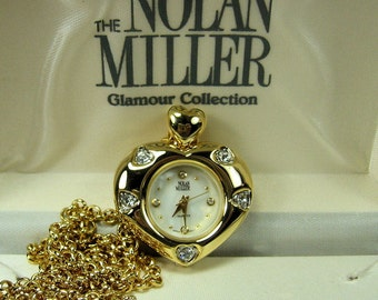 Vintage Rhinestone Watch Pendant Necklace Nolan Miller Original Box