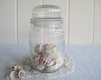 Apothecary Jar ~ Vintage Storage Canister, Clear Glass Container by Anchor Hocking  / Country Cottage Shabby Chic Farmhouse Coastal Decor