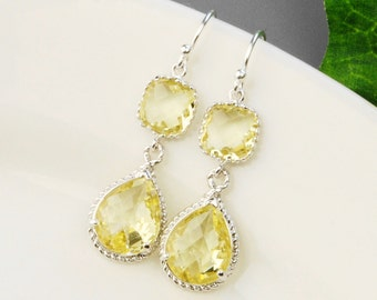Yellow Earrings - Crystal Drop Earrings - Citrine Earrings - Bridesmaid Jewelry - Silver Dangle Earrings - Bridesmaids Earrings
