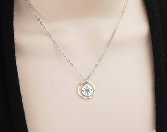 Sterling Silver Compass Necklace - Compass Charm Necklace - Compass Jewelry - Sterling Silver Infinity Necklace