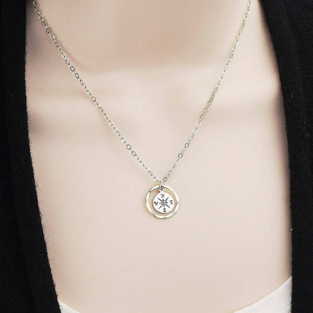 Sterling Silver Compass Necklace Compass Charm Necklace
