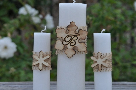 Personalized Winter Wedding-Christmas Wedding-Rustic/Woodland Wedding- Unity Candle Set