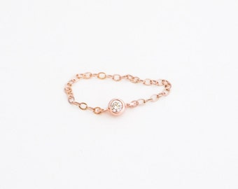 delicate ring // dainty 14k rose gold filled chain and tiny cz diamond, tiny gold ring, thin gold ring, simple gold cz ring