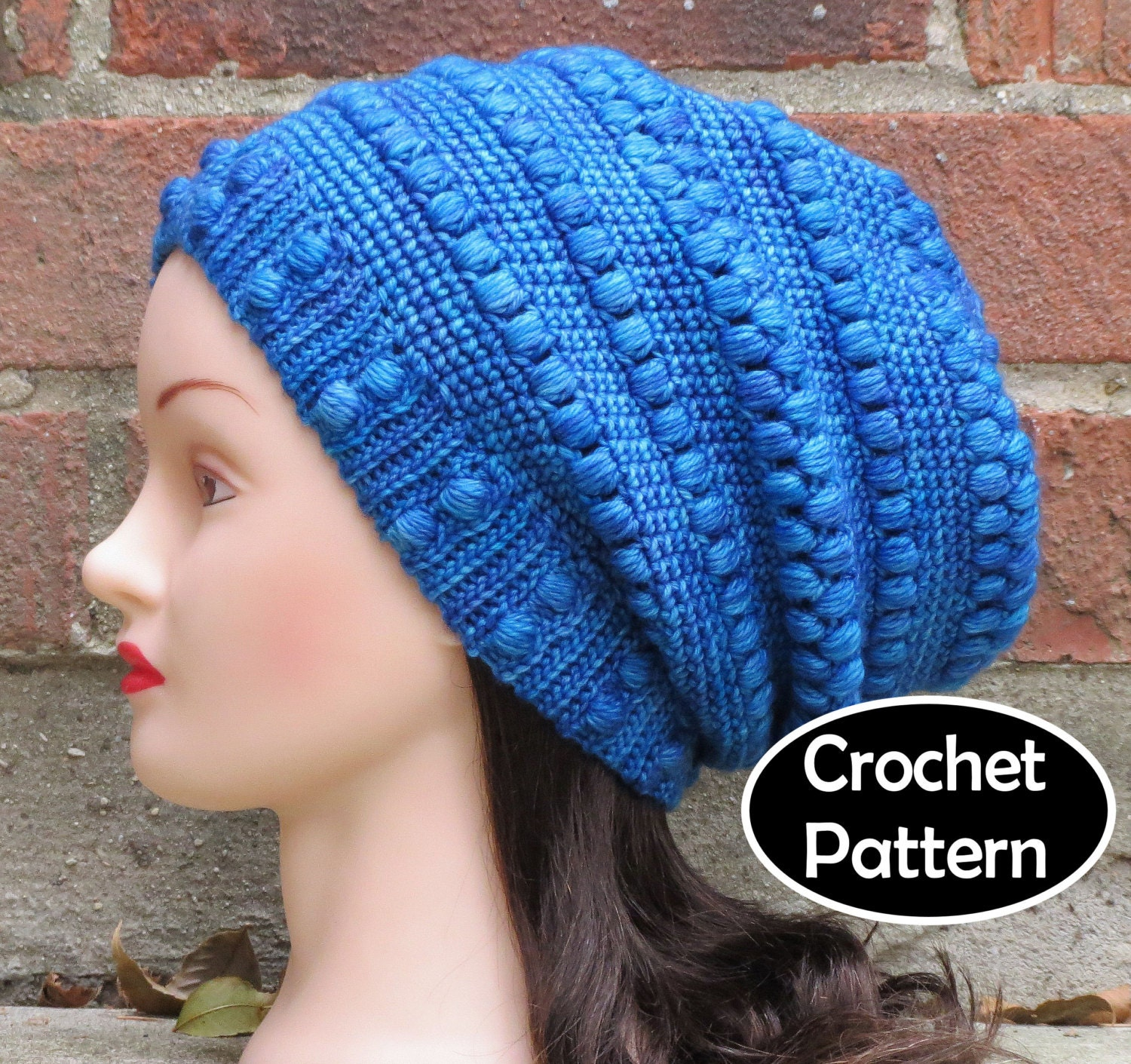 CROCHET HAT PATTERN Instant Download Nereida Slouchy Beanie