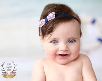 Pink & Navy Blue Anchor Nautical Headband  - Newborn Infant Baby Toddler Girls Preemie