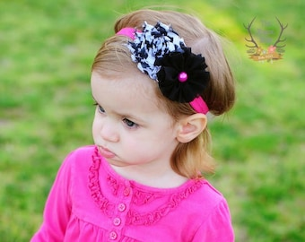 Hot Pink and Zebra Headband Black White Pearl -- Ready to Ship -- Baby Toddler Child Girl to Adult sizing available